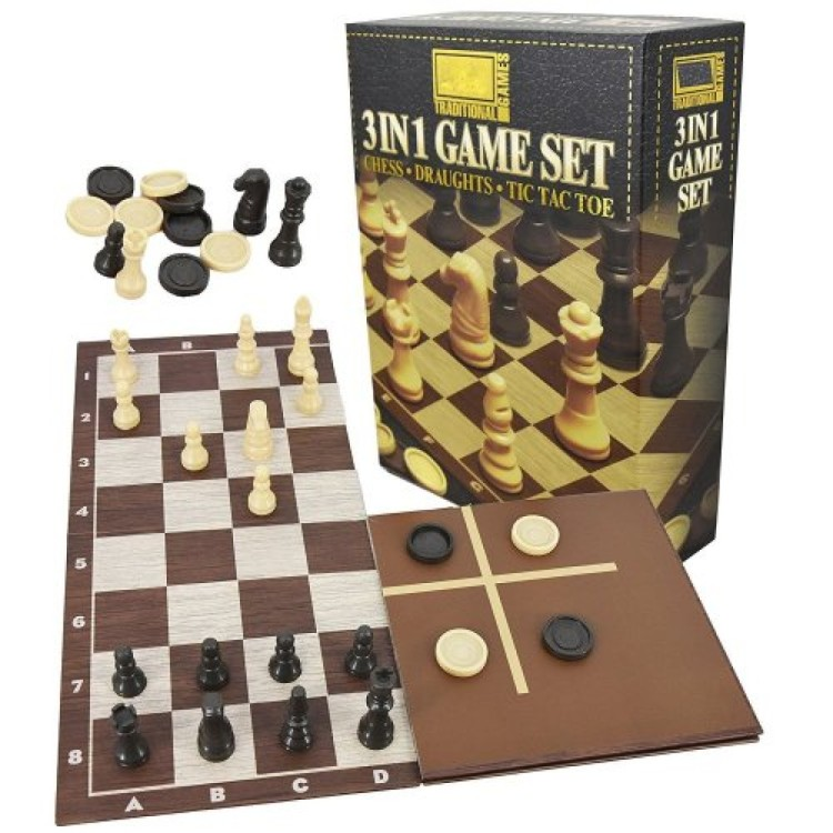 3 in 1 game set Chess Draughts Tic Tac Toe
