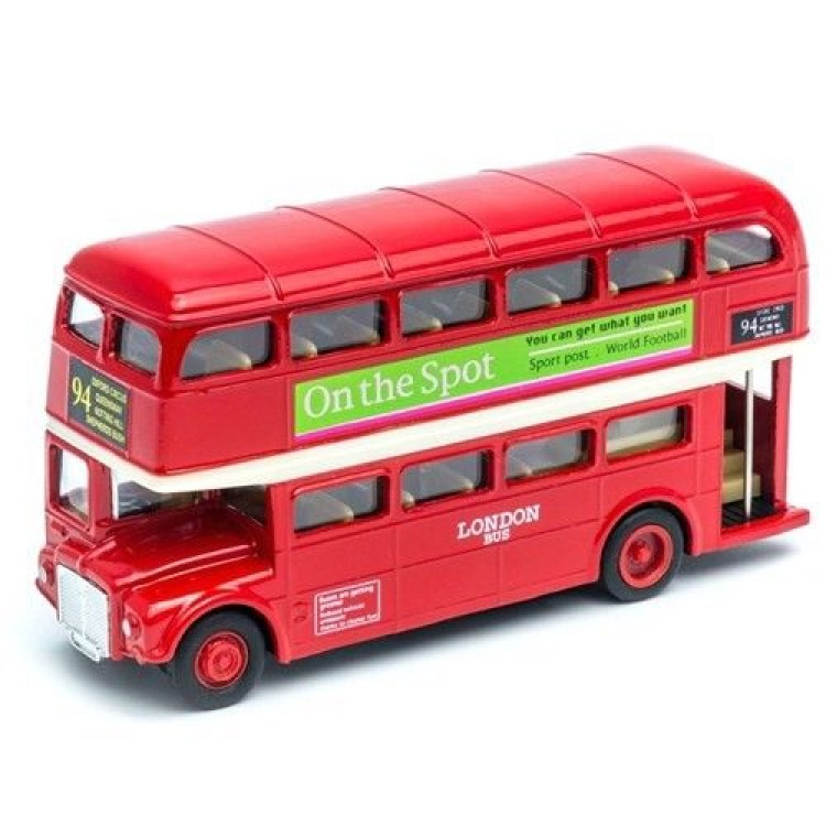 5Inch RED LONDON BUS DIE-CAST-PULL BACK AND GO