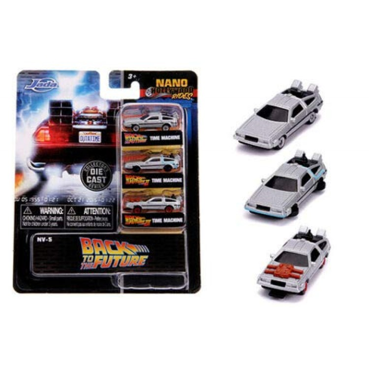 Back to the future Diecast Time Machine Delorean 3 pack