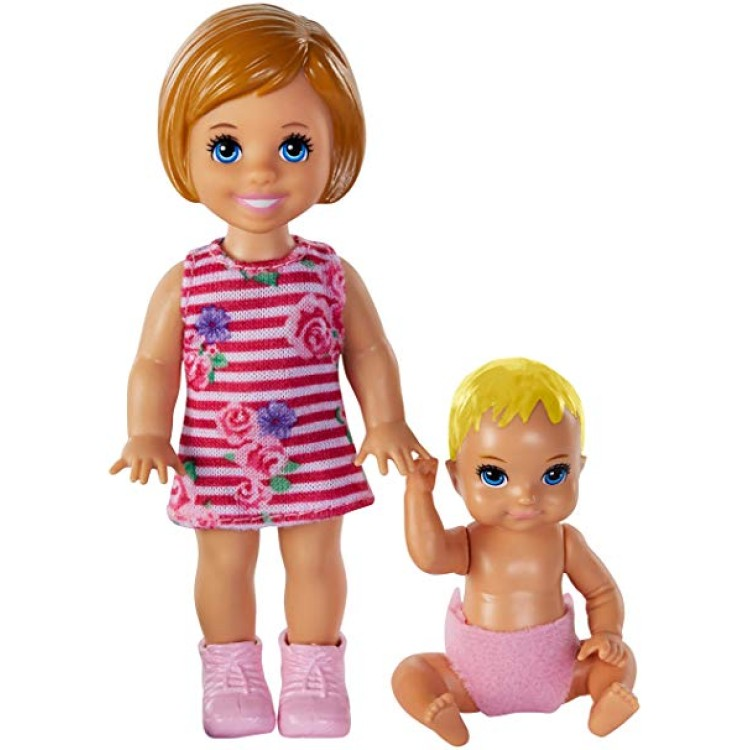 Barbie Babysitter Sibling Pack - Pink striped dress