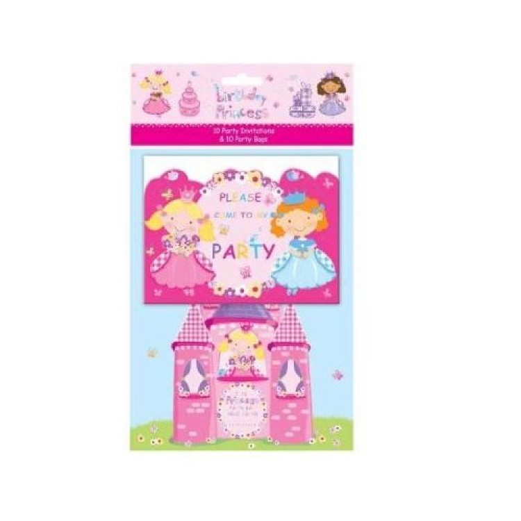 Birthday Princess 10 Party Invitations & 10 Party Bags