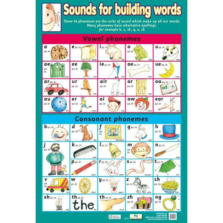 Chart Media Sounds for Building words Wall Poster