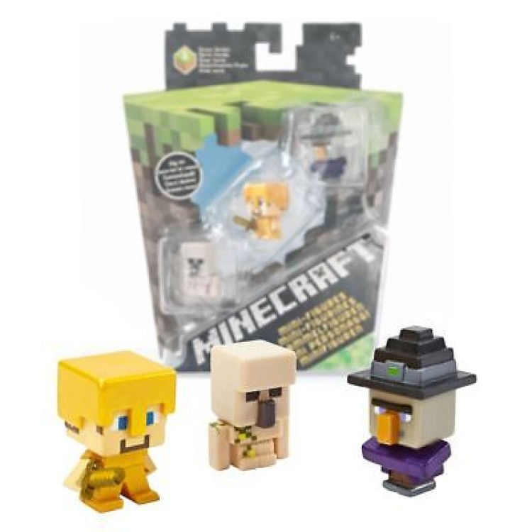 Minecraft Mini-Figures 3Pk Iron Golem. Steve and Witch